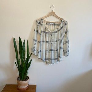 Abercrombie and Fitch Sheer Peasant Blouse Plaid